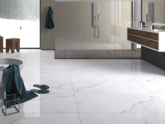 a natural looking white porcelain tile with black veining