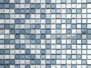 Alara Mix Mini Glass Squares Mosaic Tile in contrasts of grey, off white and blue color. For kitchen backsplash and bathroom walls