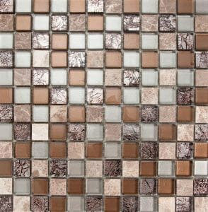 Glass and Stone Mix Mini Squares Mosaic tile with contrasts of different shades of brown color. For kitchen backsplash and bathroom walls.
