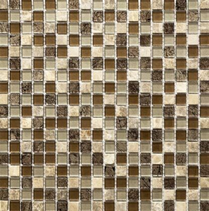 Mini Squares Glossy Mosaic Tile in shades of brown for kitchen backsplash and bathroom walls