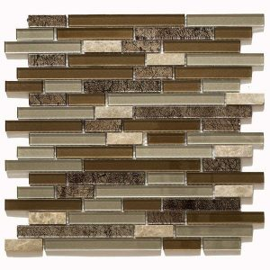 Linear glass mosaic tile in shades of brown. Kitchen backsplash and bathroom wall tile
