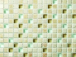 Ayas Glass and Stone Mix Mini Squares Mosaic Tile In Light Beige color for kitchen backsplash and bathroom walls