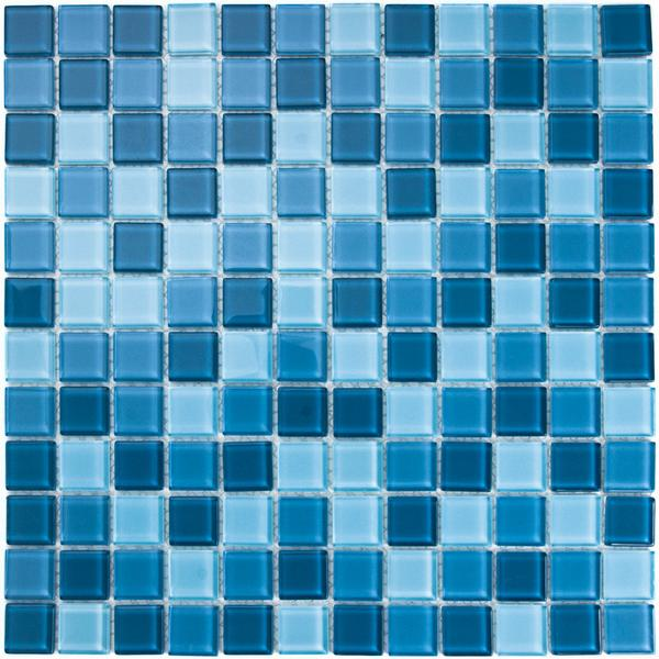 Azul Traful: Glossy glass mosaic consisting of different shades of blue color squares. Kitchen backsplash, bathroom wall and pool tile