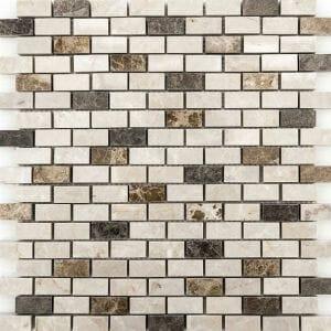 Bottucino, Dark Emperor and Light Emperor Marble Mix Mini Bricks Mosaic Tile