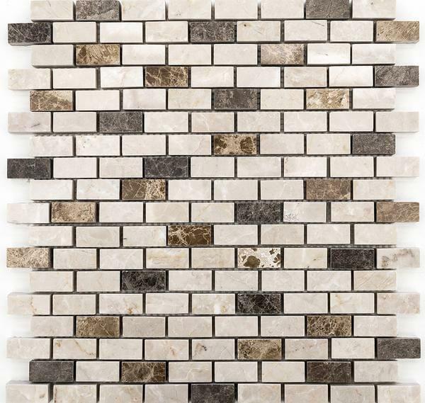 Bottucino, Dark Emperor and Light Emperor Marble Mix Mini Bricks Mosaic Tile