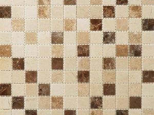 Bottucino, Dark Emperor and Light Emperor Marble Mix Mini Squares Mosaic Tile