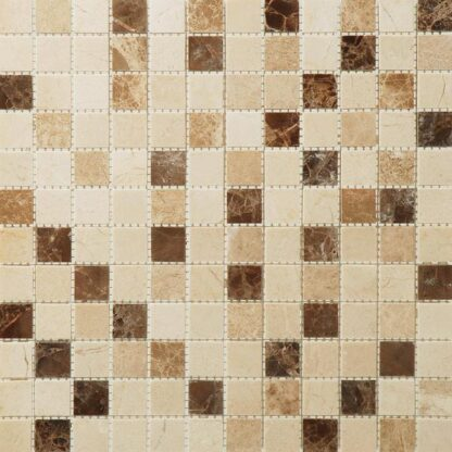 Bottucino, Dark Emperor and Light Emperor Marble Mix Mini Squares Mosaic Tile