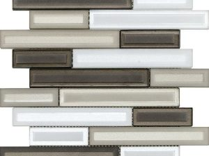 white and brown linear glass mosaic for kitchen backsplash and bathroom walls