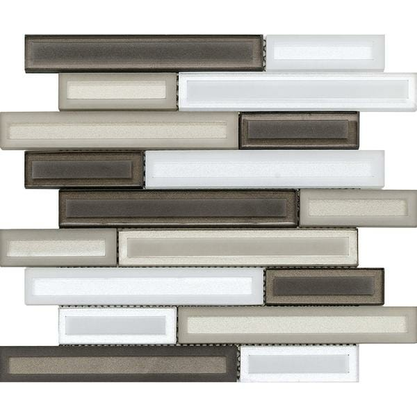Barren Beige: white and brown linear glass mosaic for kitchen backsplash and bathroom walls