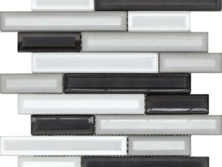 Dark grey color glass mosaic that comes in linear sticks with a glossy finish. Trendy decorative tile for kitchen, vanity backsplash, and bathroom walls.