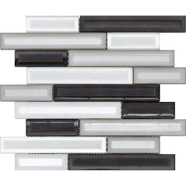 Barren Grey: White, Dark Grey and Light Grey Linear glass pieces mosaic tile for kitchen backsplash and bathroom walls