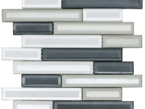 Light grey color glass mosaic that comes in sticks with a gloosy finish