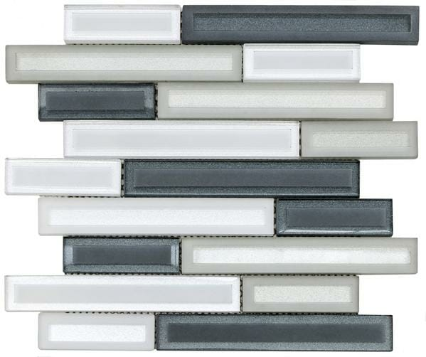 Barren Grey: White, Grey and Light Grey Linear glass pieces mosaic tile for kitchen backsplash and bathroom walls