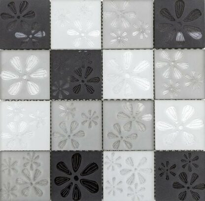 Blumen Grey Flower Printed Glass Mosaic in Black, Light grey and white squares. Mosaic tile for kitchen backsplash and bathroom walls