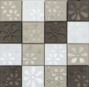 Blumen Beige Flower Printed Glass Mosaic in Beige, White and Brown Squares for kitchen backsplash and bathroom walls