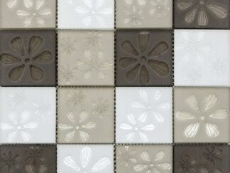 Blumen Beige Flower Printed Glass Mosaic in Beige, White and Brown Squares for kitchen backsplash and bathroom walls