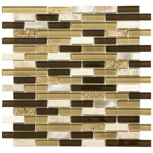 Doha Strips: Brown, beige mosaic mixed with brown marble linear mosaic tile for kitchen backsplash and bathroom walls.