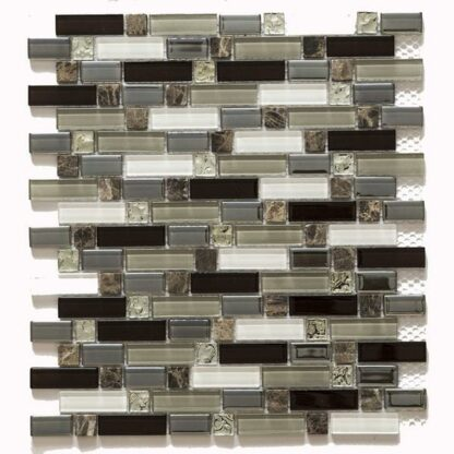 Dubai Strips Glass and Stone Mix Mosaic Tile. Brown Marble Inserts and Brown, Grey Glass Pieces for kitchen backsplash and bathroom walls