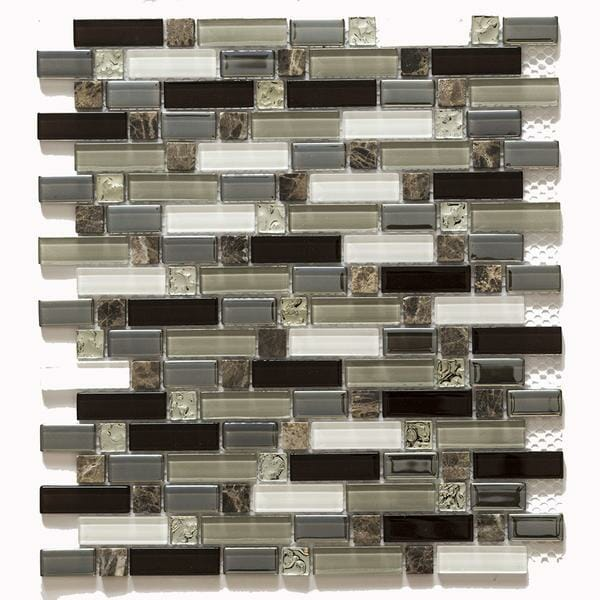 Brown Marble Inserts and Brown, Grey Glass Pieces for kitchen backsplash and bathroom walls