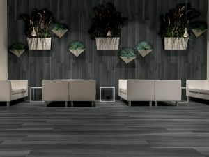 Gardenia Black is a porcelain plank tile made in Italy. It comes in 8x48 size with rectified edges