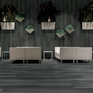 Black hardwood tile Gardenia. Rectified porcelain tile from Italy