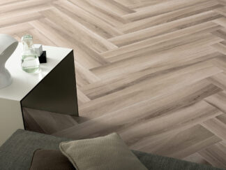 Wood look tile flooring with Gardenia Almond porcelain tile from Italy