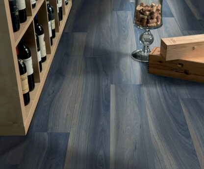 blue color wood look porcelain tile with an exotic style from Italy