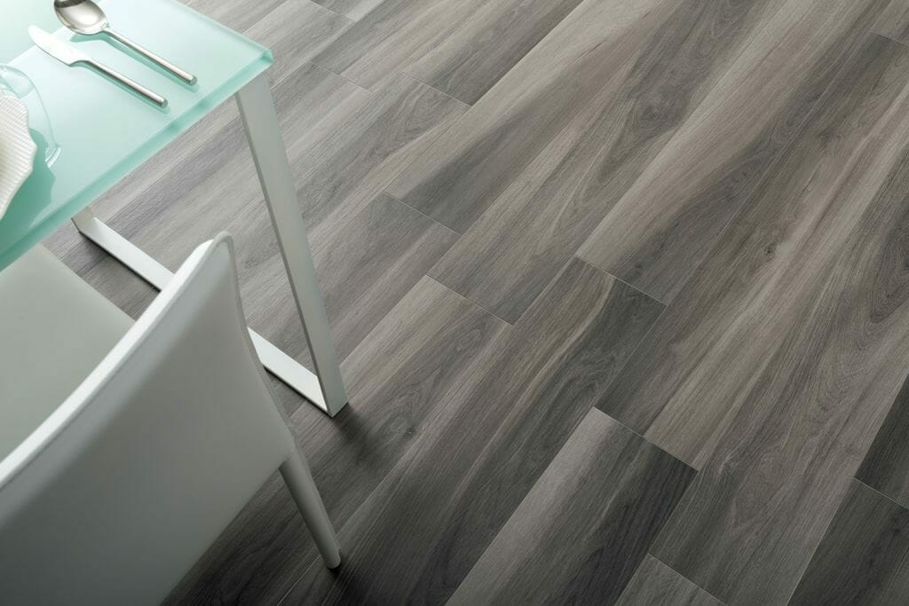 Grey Wood Tile Floorins with Gardenia rectified porcelain tile from Italy