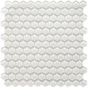 Hexa Vetro Glass Mosaic Tile for kitchen backsplash and bathroom walls in white color