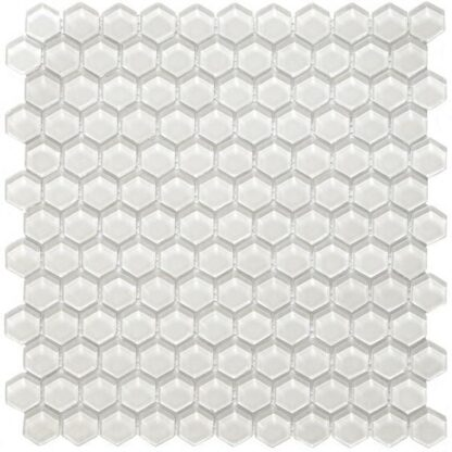 Hexa Vetro Bianco comes as hexagon shaped small glass tiles in white color. It's an elegant design to finish up the kitchen backsplash or bathroom walls.