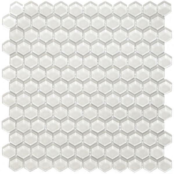 Hexa Vetro Glass Mosaic Tile for kitchen backsplash and bathroom walls in white color