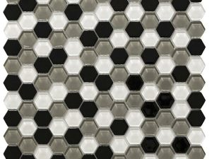 Hexa Vetro Grey is a mixture of hexagon-shaped small glass tiles with high contrast colors. It's an impressive design for kitchen backsplash or bathroom wall