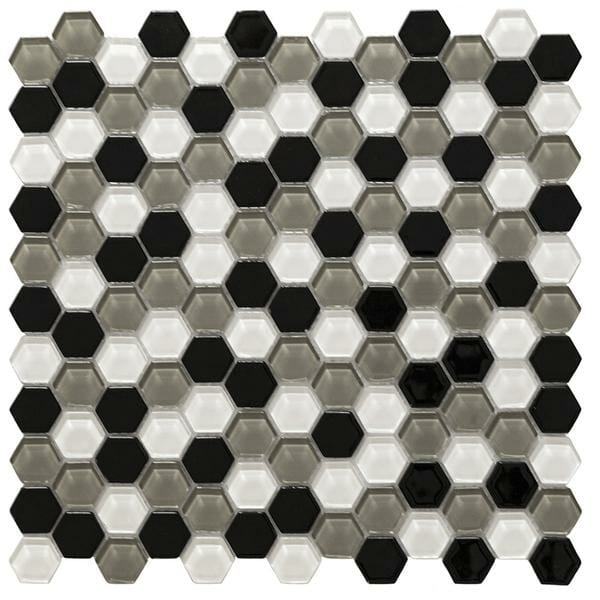 Hexa Vetro White And Grey Glass Mosaic Tile for kitchen backsplash and bathroom walls