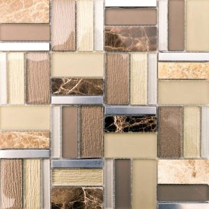 Helsinki Beige Mix is a glass, stone and metal mix mosaic tile that comes with the glossy finish. It's a decorative tile in the earth tones.