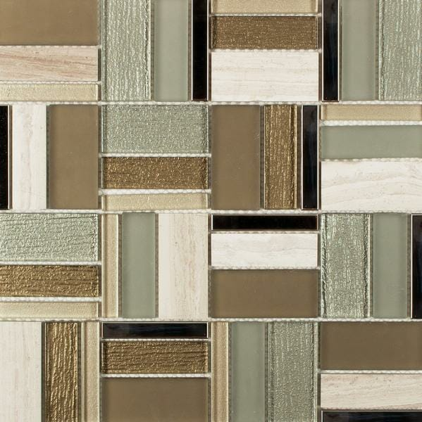 Helsinki Classic Glass and Metal Mixed Mosaic for kitchen backsplash and bathroom walls