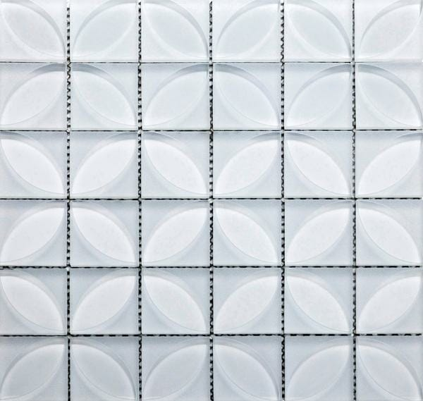 Printed Glass Mosaic Lauben Blanco is a new approach to the decorative glass tile. It comes with a printed design within the white glass tile.