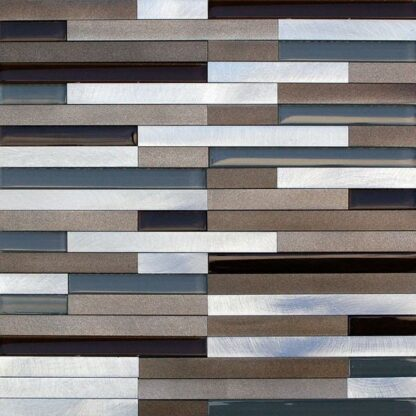 Lund Strips Aluminum Mosaic Tile with multi colors for kitchen backsplash and bathroom walls