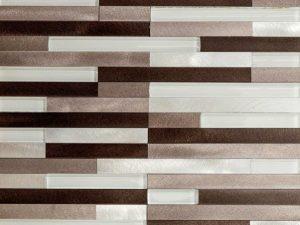 Lund Strips Aluminum Mosaic Tile In Beige tones for kitchen backsplash and bathroom walls