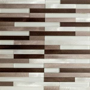 Lund Strips Aluminum Mosaic Tile In Beige tones for kitchen backsplash and bathroom walls