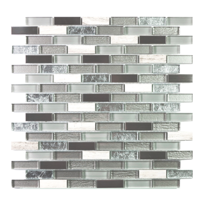 Shiraz Strips Glass, Metal Stone Mix Mosaic Tile In Grey Color with White Inserts for kitchen backsplash and bathroom walls
