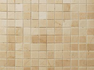 Polished Bottucino, earth tones Marble Mini Squares Mosaic tile for kitchen backsplash and bathroom walls