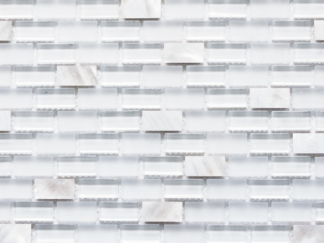 Agra Blanca White Glass and White Seashell Mosaic Tile in mini brick pattern. For kitchen backsplash and bathroom walls