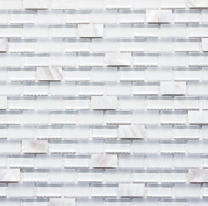 Agra Blanca White Glass and White Seashell Mosaic Tile in mini brick pattern. For kitchen backsplash and bathroom walls