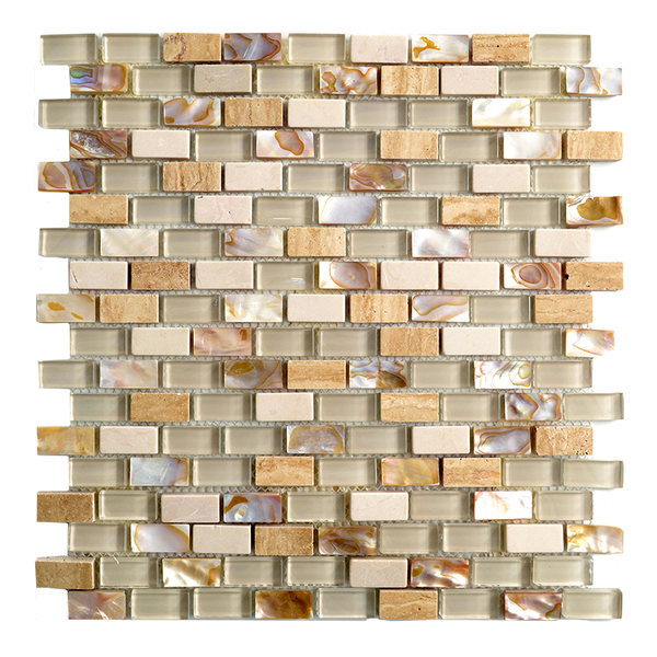 Agra Amber Beige Glass and beige SeaShell Mix Mosaic Tile In a Brick Pattern. For kitchen backsplash and bathroom wall