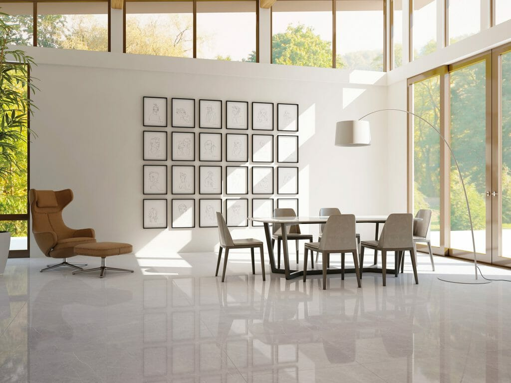 This is an extremely dense, polished porcelain floor tile in grey color with the stone look that comes in 30x30 large format.