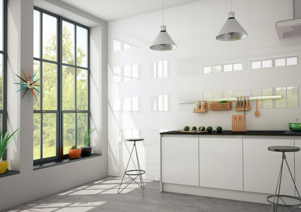 Bianchi Matte - large format wall tile in plain white color