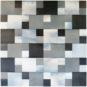 Ater Aluminum Mosaic Tile in two size squares pattern. Brown, metallic and taupe color. Kitchen backsplash mosaic tile