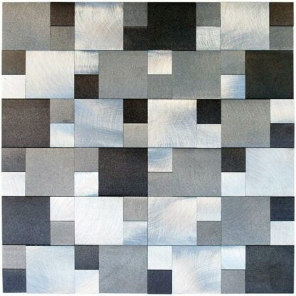 Ater Aluminum Mix Mosaic Tile for kitchen, vanity backsplash ,and bathroom walls. Available on a 12x12 mesh for easy installation.
