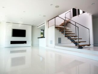Pure white Vietnamese Marble for floors and walls.