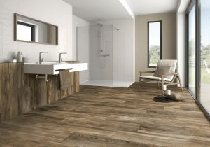 dark color porcelain tile that looks like oak wood